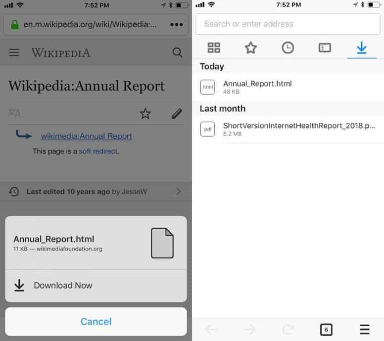 Firefox 12 iOS fonctionnalités