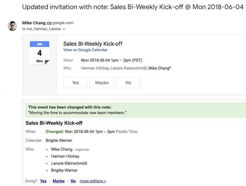 Modification d'un event après avoir laisser un message sur Google Calendar