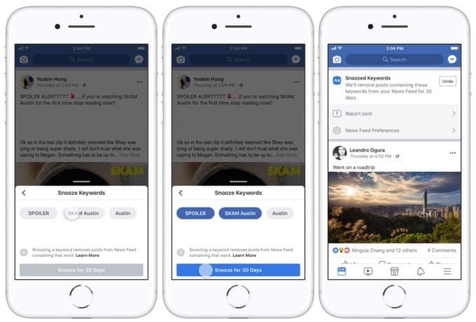 """Facebook lance """"Keyword Snooze"""" une fonctionnalité qui empêche les spoilers"""