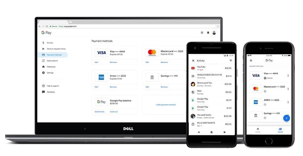 Gestion des informations de paiement via web ou l'application
