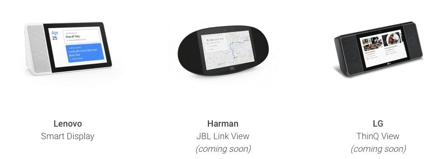 google smart displays avec LG, Lenovo et Harman (JBL)