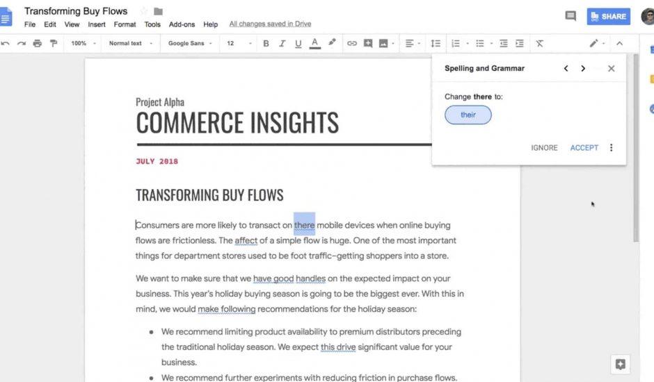 orthographe IA Google Docs