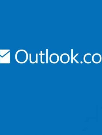 Logo de outlook de microsoft sur fond bleu