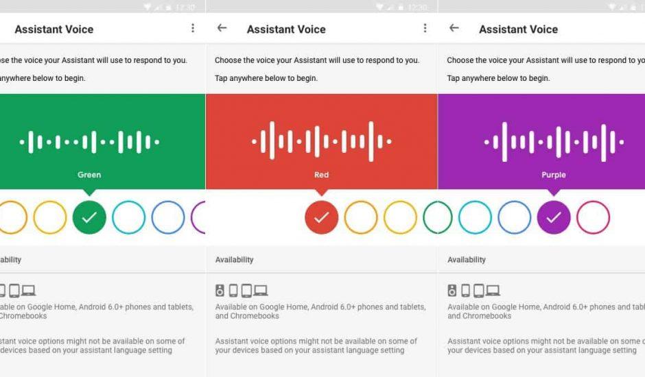 Nouvelle interface pour choisir une voix personnalisée à l'Assistant Google