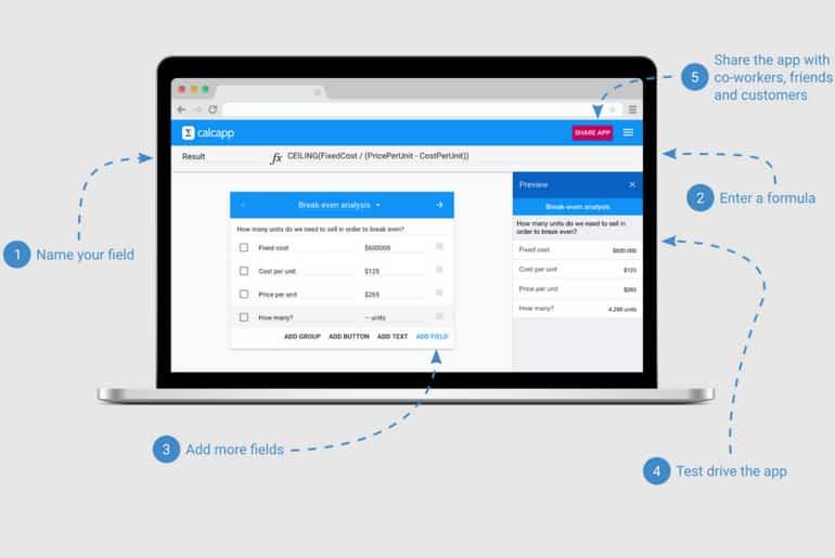 Calcapp permet de créer une application plutôt qu'un excel