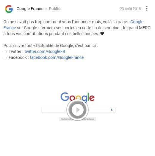 Google Plus ferme sa page France
