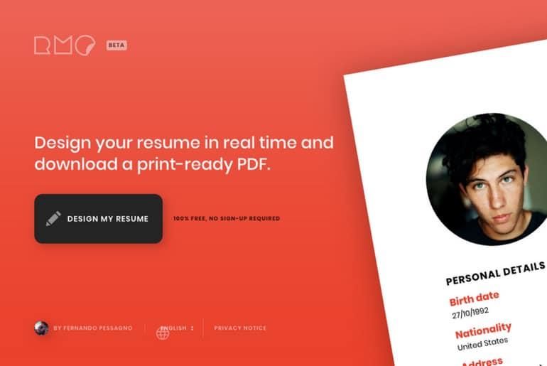 ResumeMaker.online est un outil de création de cv en ligne gratuit