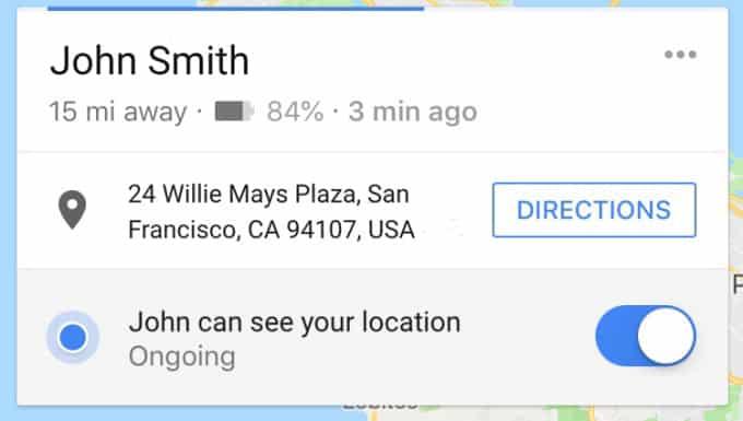 Google Maps vous permet de partager l'état de votre batterie