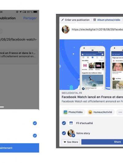 Partager un lien Facebook Stories
