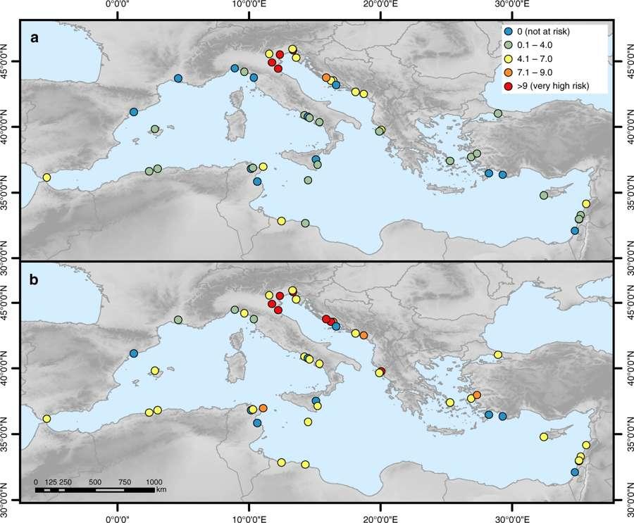 Menaces d'inondation des sites UNESCO méditerranéens  en 2000/ menaces en 2100