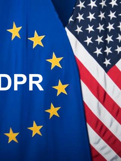 Drapeau européen avec RGPD et Américain
