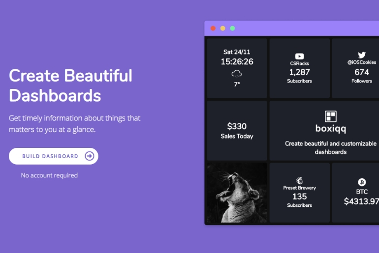Une web-app qui permet de créer des dashboard personnalisé grâce à des widgets