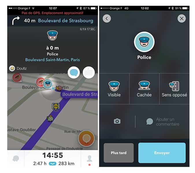 Un exemple d'option pour signaler la police sur Waze