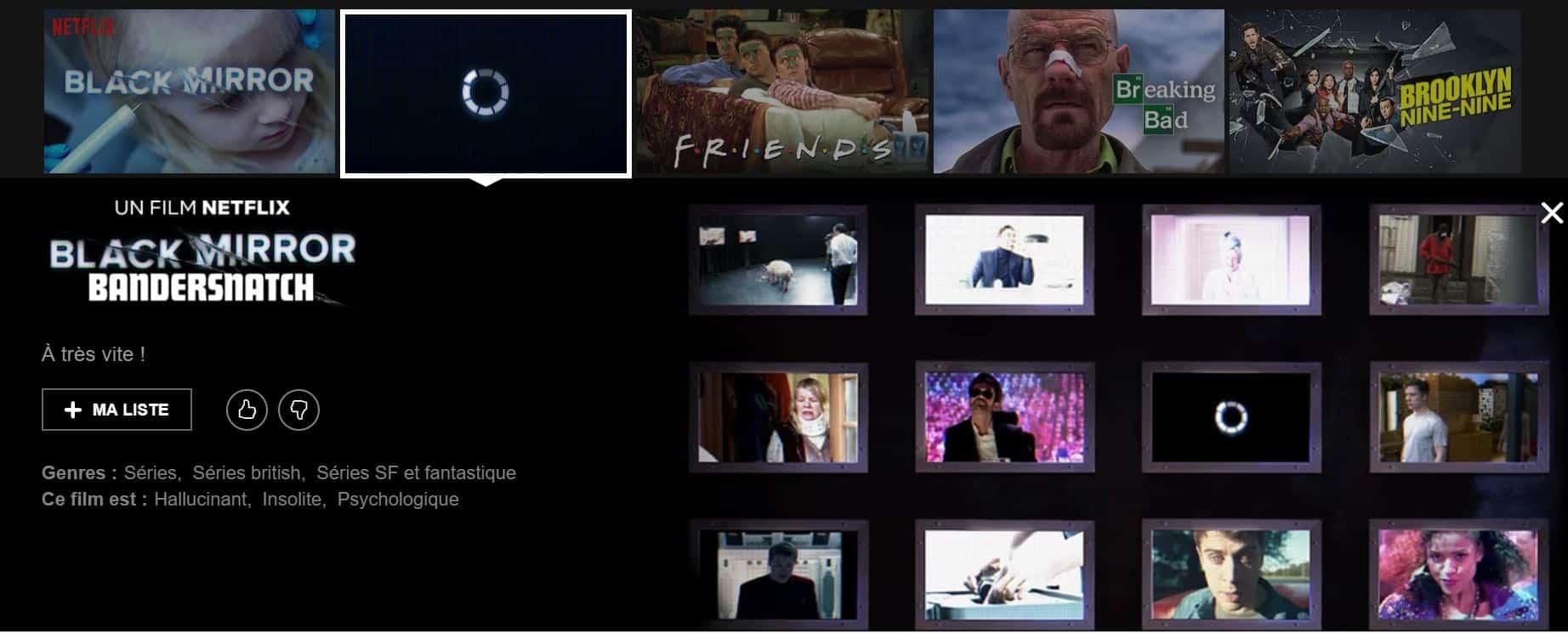 """Black Mirror Bandersnatch serait l'épisode interactif tant attendu par les fans de la série. Description Netflix avec """"à très vite""""."""