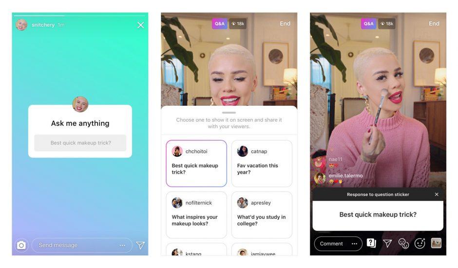 Il est désormais possible de répondre à une question en live sur Instagram et d'envoyer des recommandations musicales via le sticker question