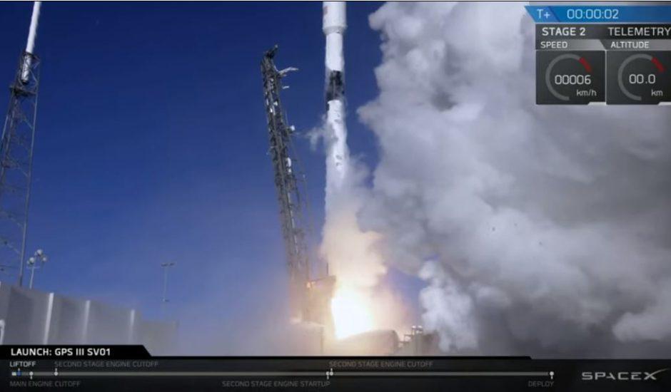 Lancement d'une Falcon 9 portant une nouvelle technologie GPS pour l'armée américaine.