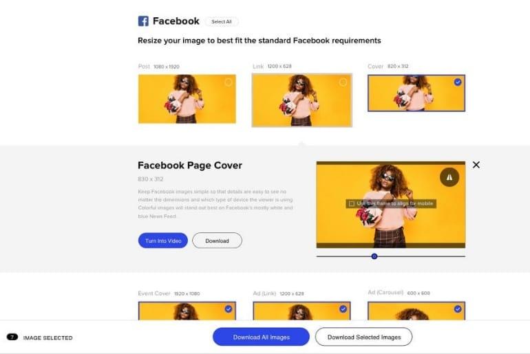 un outil gratuit qui permet de redimensionner ses images au bon format pour les réseaux sociaux