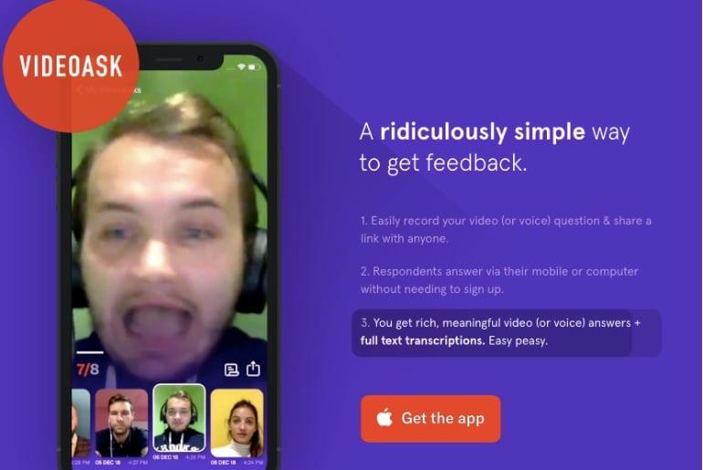 videoask est une application produit par Typeform pour récolter des feedback video