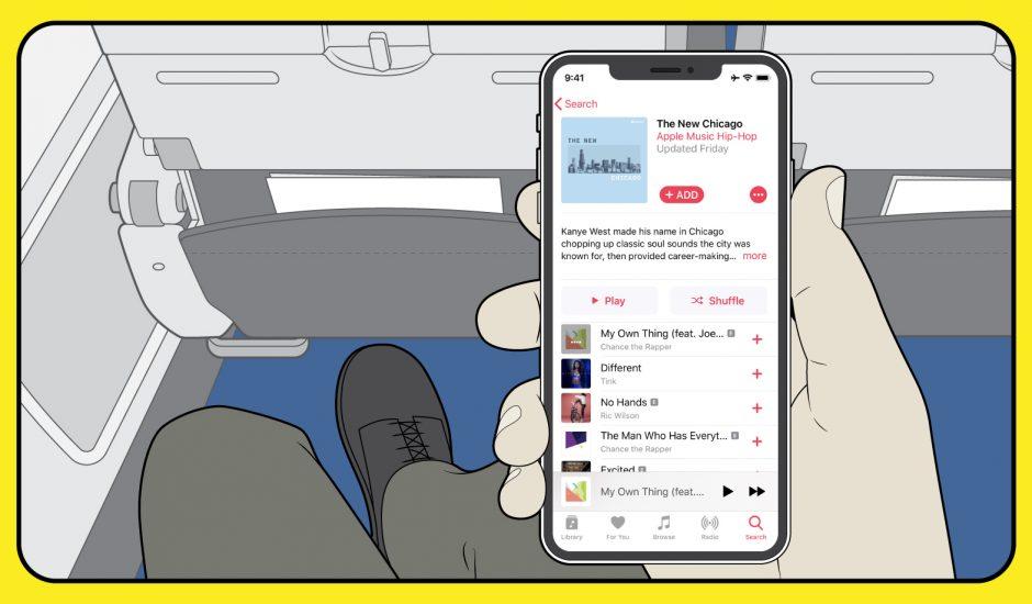 Photo qui montre l'utilisation d'Apple Music dans un avion
