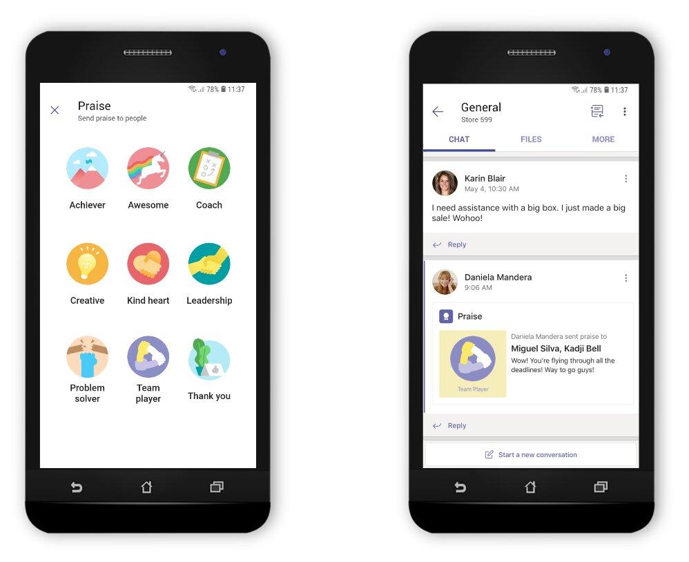 Microsoft compte sur les badges de Praise pour que les cadres puissent offrir une sensation de reconnaissance aux salariés