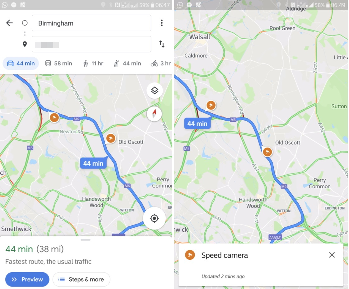 Une mise à jour de l'application Google Maps affiche désormais l'emplacement des radars et les limitations de vitesse.