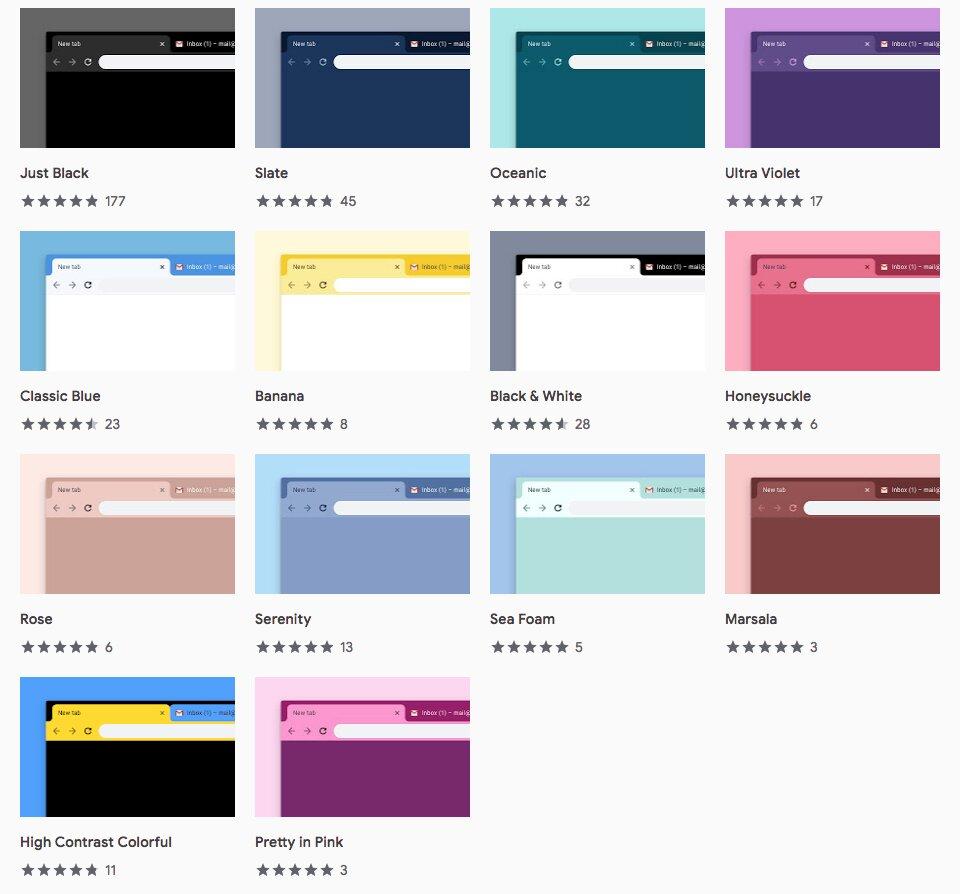 Les 14 nouveaux thèmes de Chrome