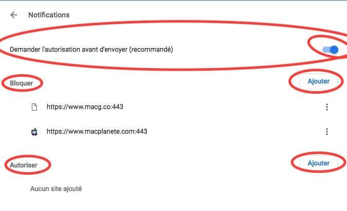 Les trois possibilités pour gérer les notifications sur Google Chrome