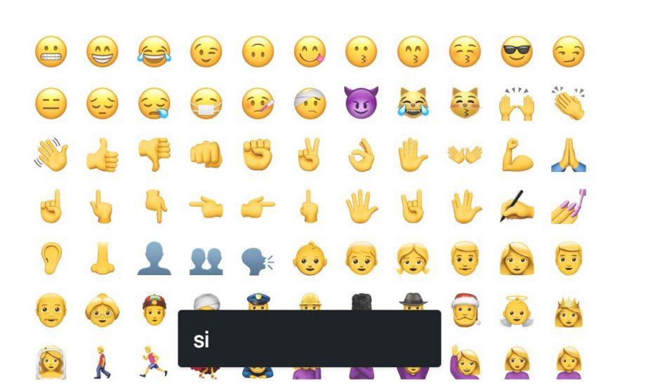 moteur de recherche et listes d'emojis