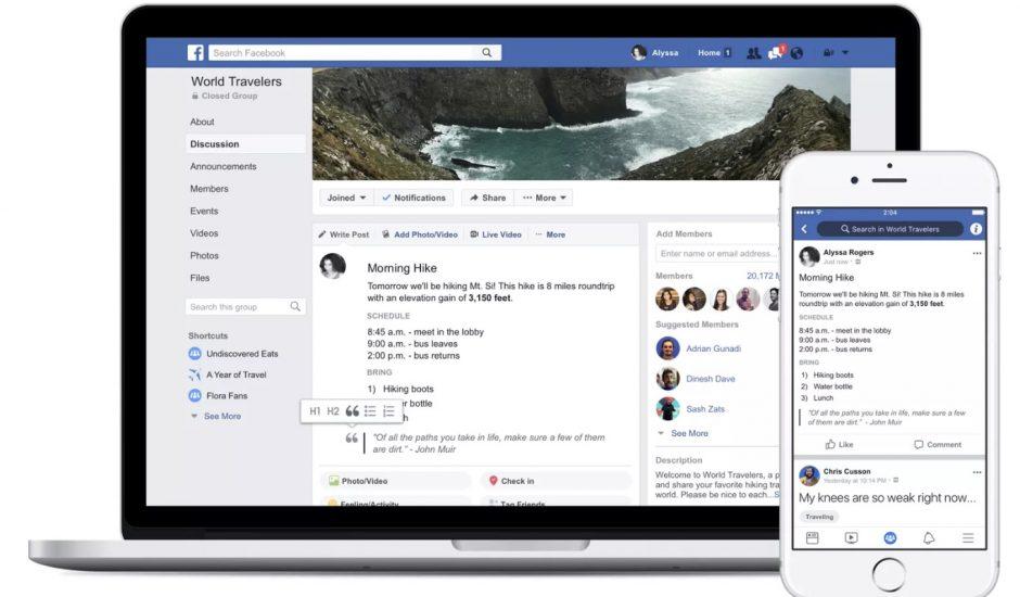 aperçu de la mise en forme des posts sur les groupes Facebook