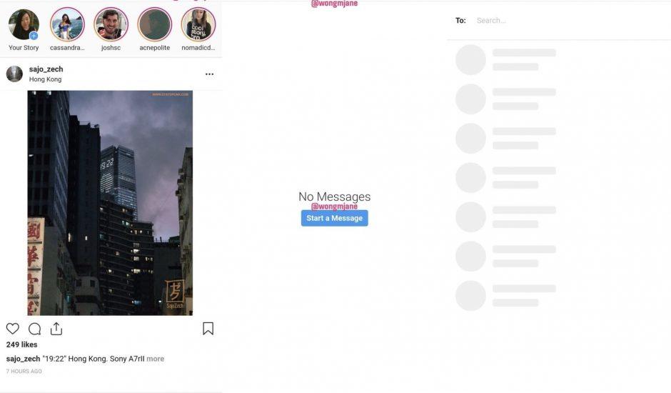 aperçu de la messagerie Direct Instagram via un navigateur mobile
