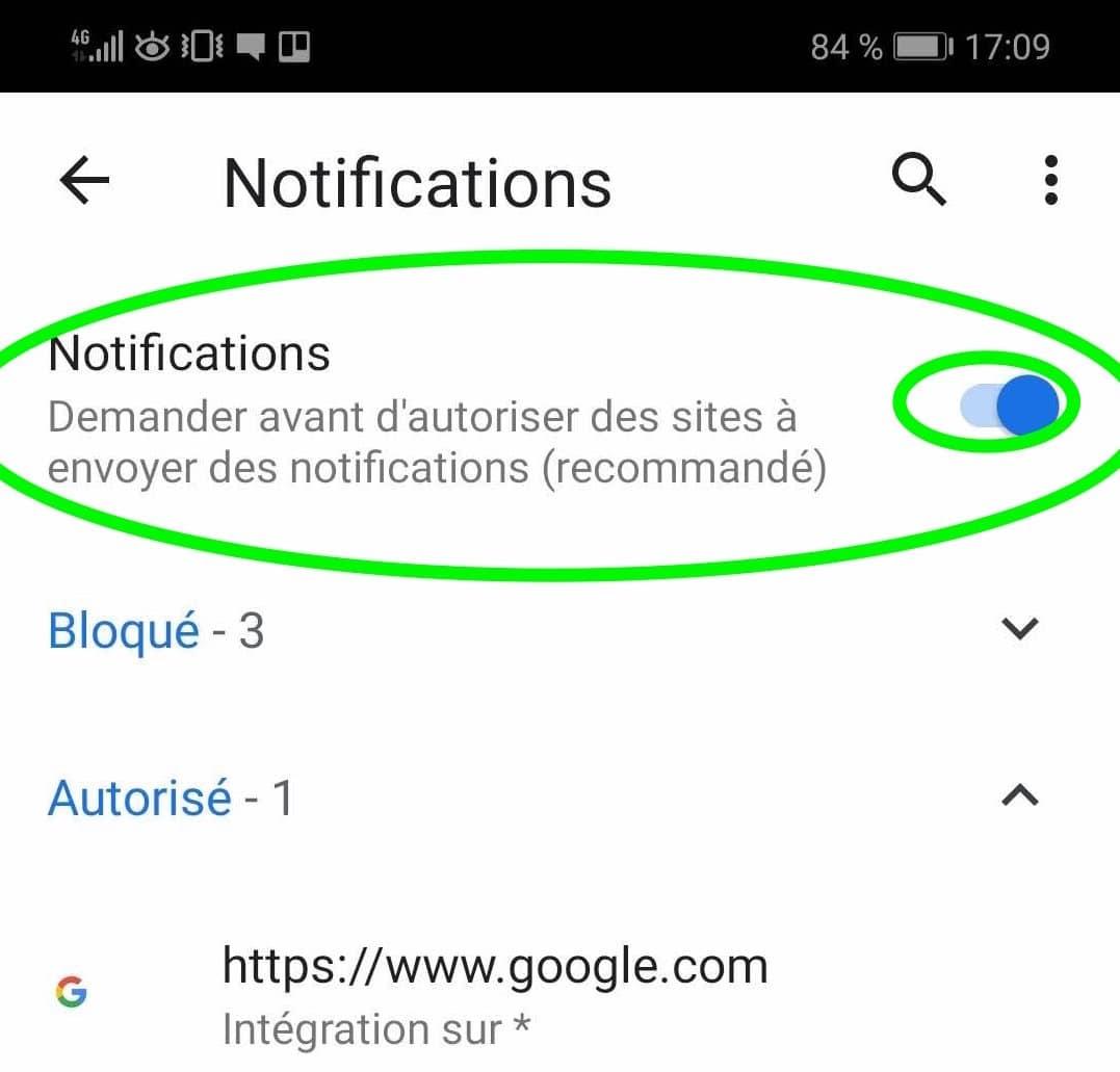 Comment désactiver les notifications Google Chrome sur Androïd partie 5