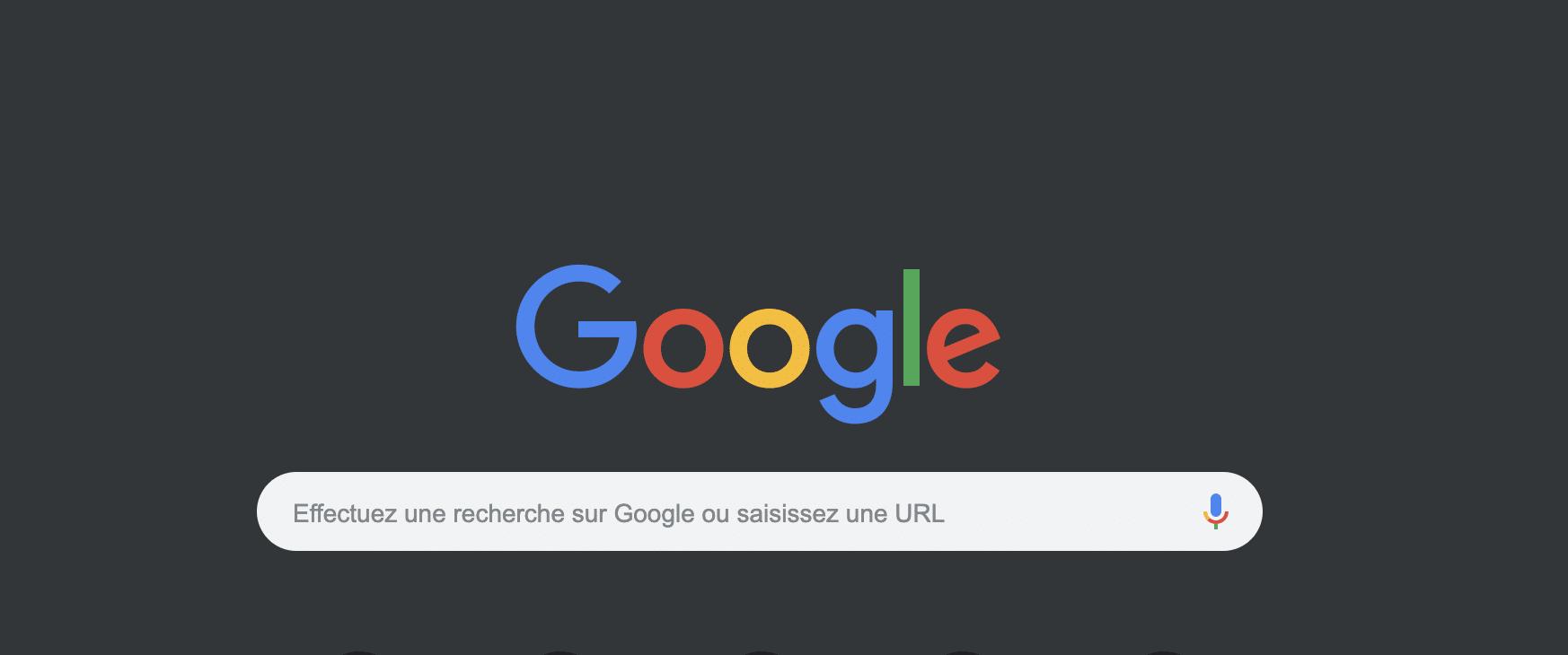 Capture d'écran Google Chrome dark mode