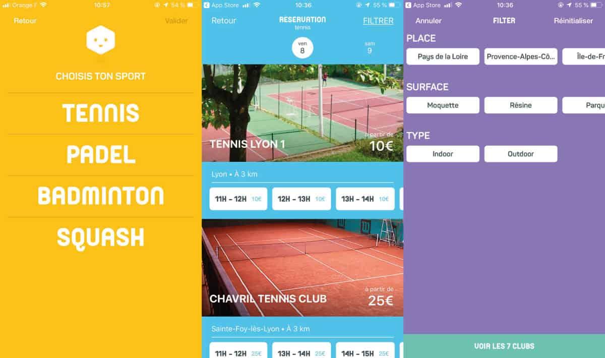 Captures d'écran de l'interface d'Anybuddy sur iOS pour réserver un terrain de tennis à Lyon.