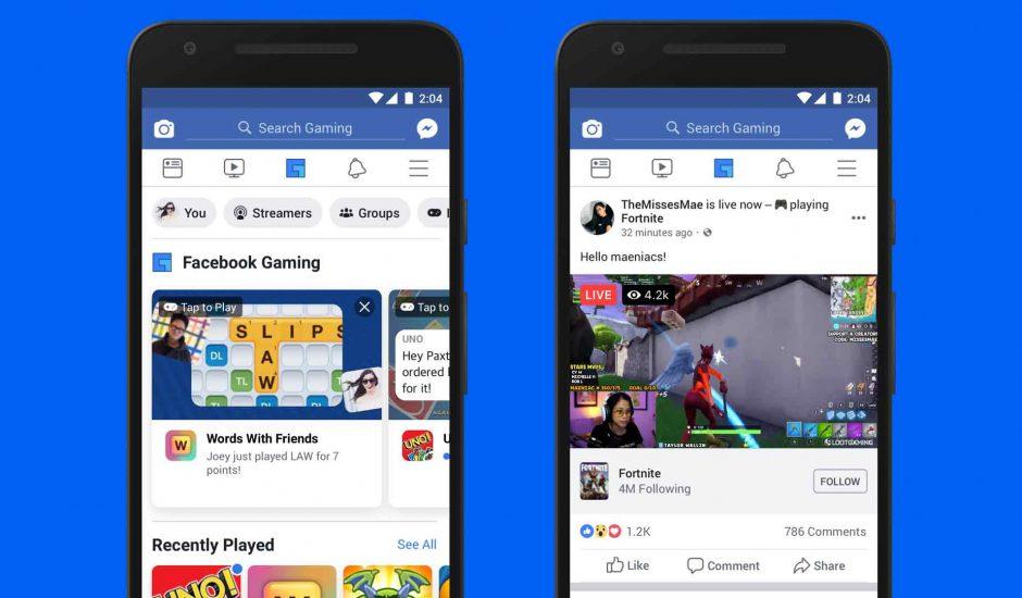 nouvel onglet dédié aux jeux sur Facebook