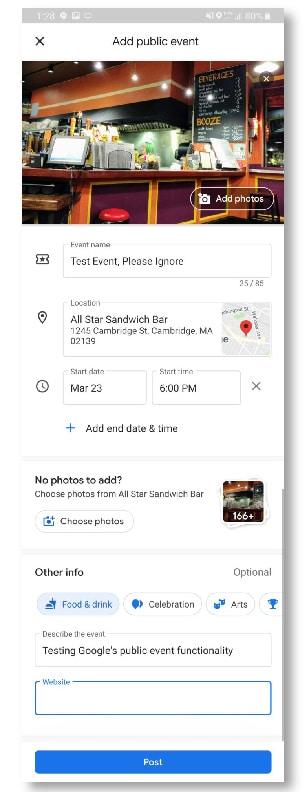 Google Maps propose les événements
