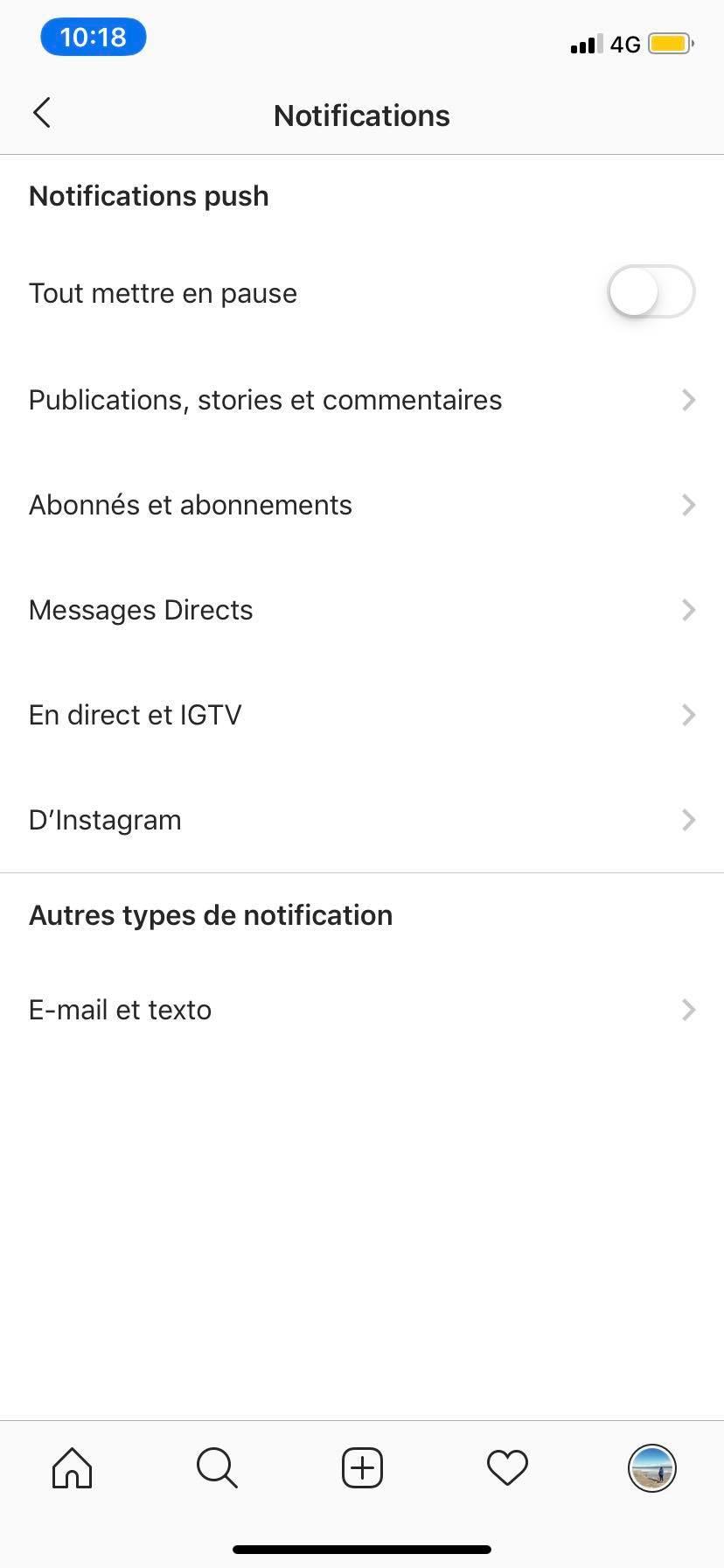 Capture d'écran sur l'application Instagram
