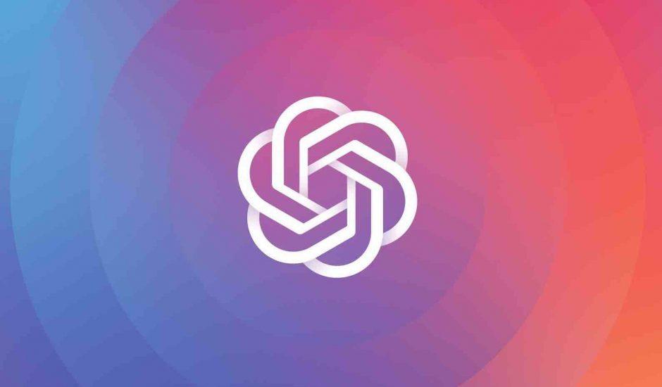 Le logo de OpenAI sur un fond dégradé multicolore.