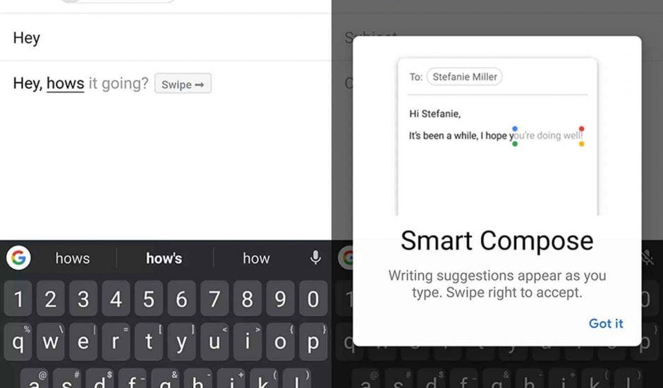 Smart Compose sur un Galaxy S10+