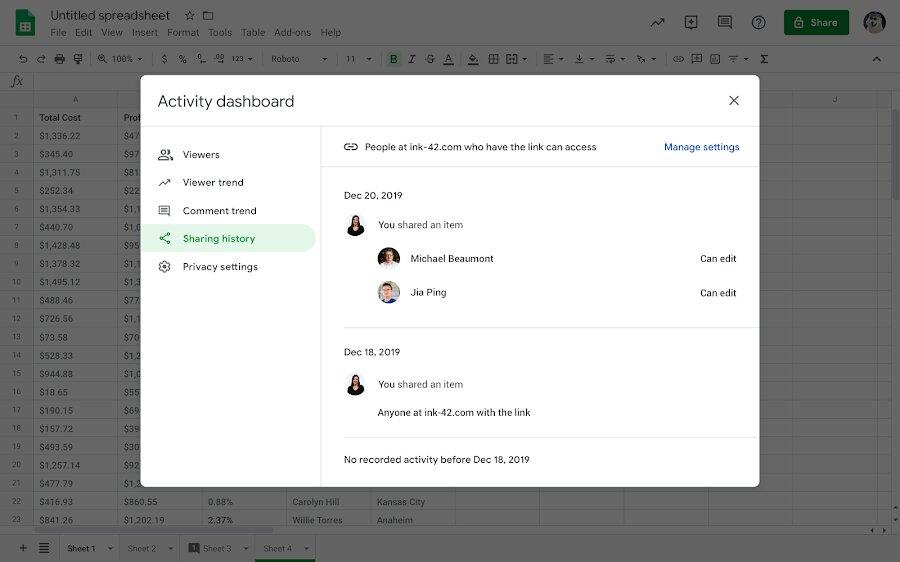 Historique des partages des documents Google Sheets, Docs, et Slides