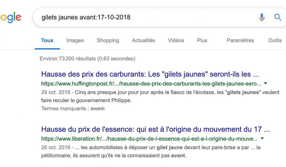 Google teste ses commandes de recherche par date