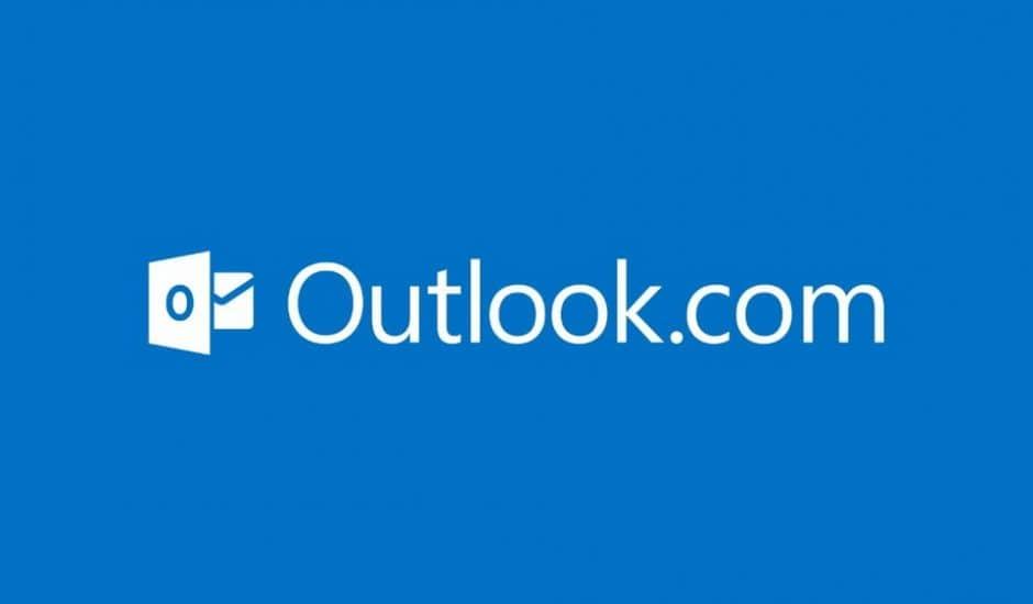 Le logo Outlook sur un fond bleu.