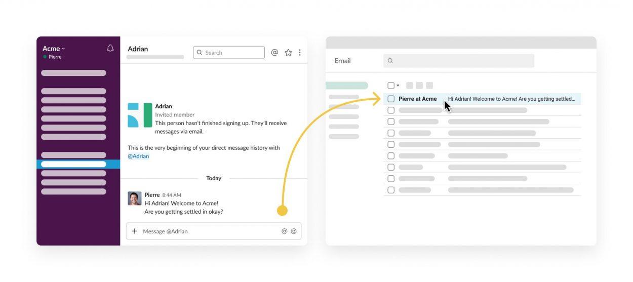 Première étape de réception d'un email depuis Slack