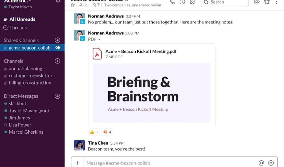 Exemple d'un canal de discussion partagé avec Entreprise Grid sur Slack