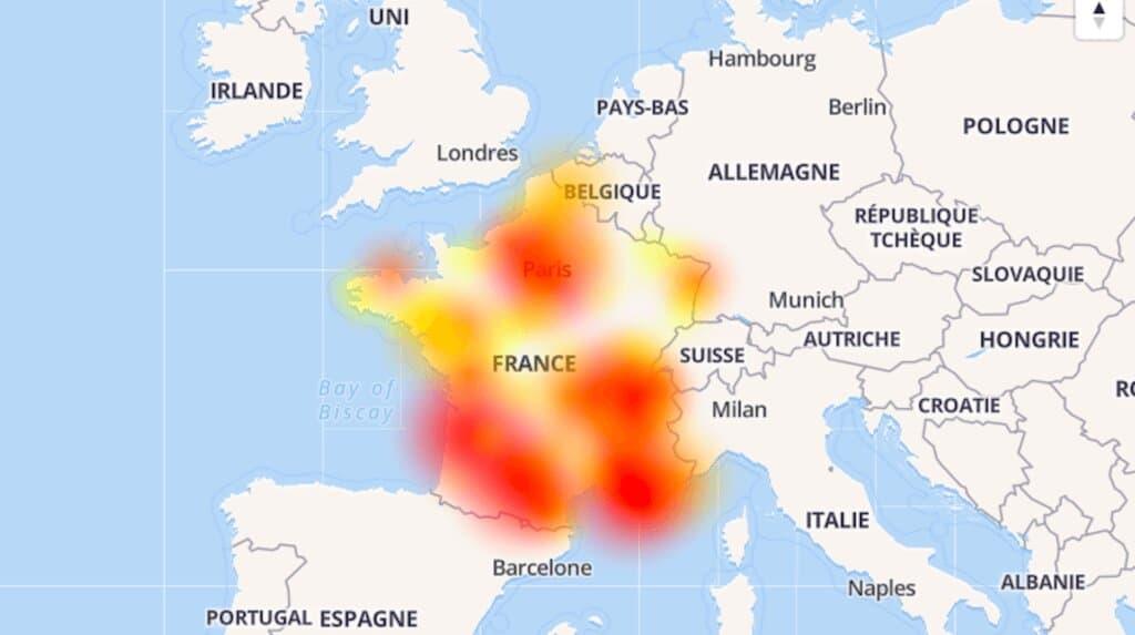 La carte des pannes Orange signalées ce 15 avril 2019