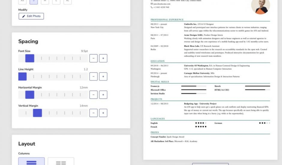 outils pour créer son CV en ligne