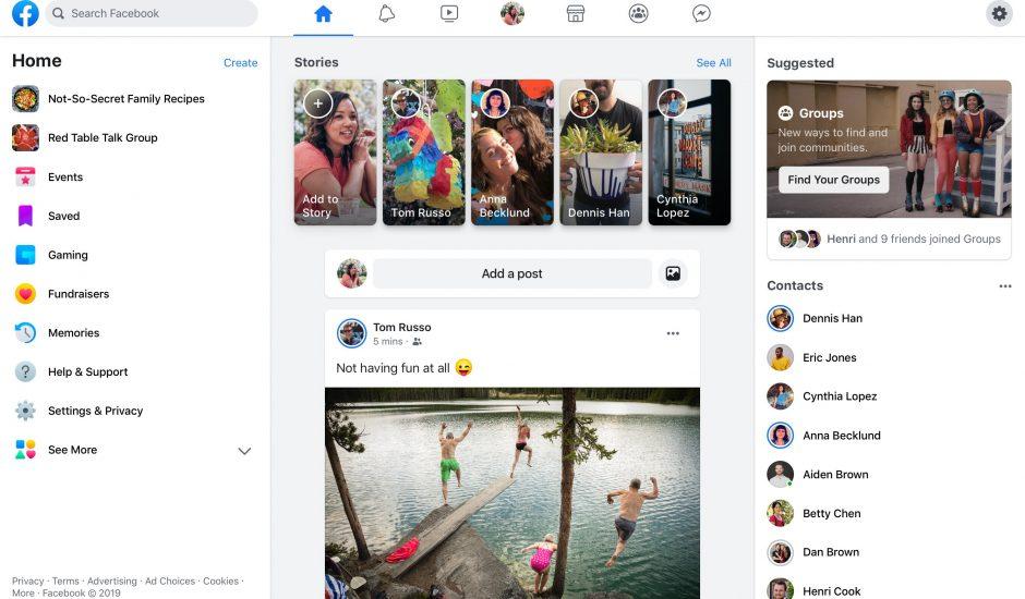 Version web de la nouvelle version de Facebook baptisée FB5