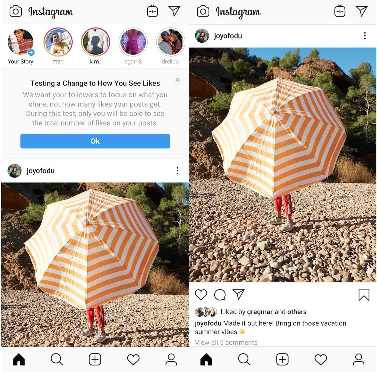 aperçu d'Instagram et de l'absence du compteur de like