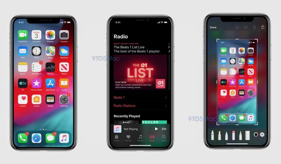 Captures d'écrans d'iOS 13 avec le dark mode