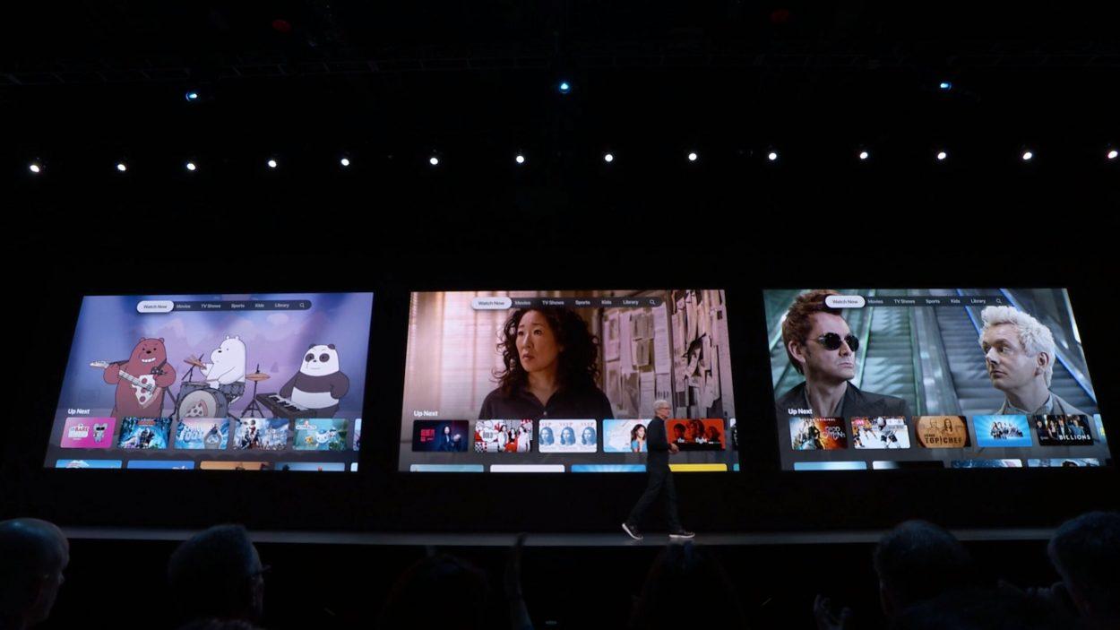 Présentation de la nouvelle version de tvOS pendant la WWDC19 d'apple.