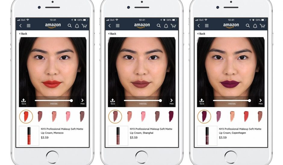 Aperçu de l'essai virtuel de maquillage via Amazon